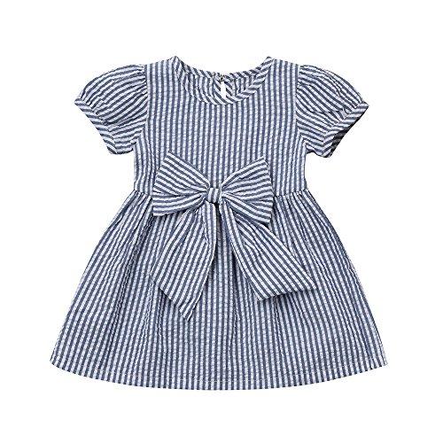 YWLINK MäDchen-Kleinkind-Kleidung Elegant Stripe Bow Princess Party Hochzeit Kleiden(Blau,Größe: 24M)