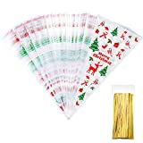 100 Counts Christmas Patterned Cone Cellophane Bags Treat Candy Bags with 100 Pieces Gold Twist Ties for Christmas Party Favor (color C) Bild