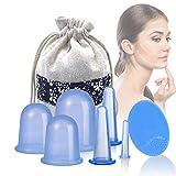 Silikon Schröpfen, Yiomxhi Silikon Cupping Set mit 6 Vacuum Massage Cups und 1 Gesichtsreinigung Pinsel, Silikon Schröpfgläser für Anti Cellulite und Schönheitstherapie-Massage