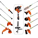 Todeco - Multifunktions Gartenwerkzeug, Benzin Multi-Tool - Hubraum: 52 cm³ - Funktion: Unkrautschneider - Orange, 10 in 1