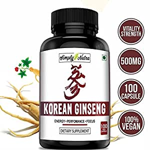 Simply Nutra Korean Ginseng for Energy and Stress 500mg Capsules - 100