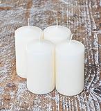 Stumpenkerzen creme / beige, 4-er Set, 13 h x 7 cm Ø , Adventskranz Kerzen