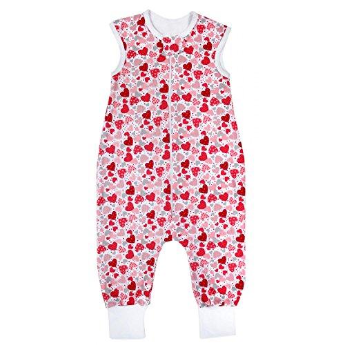 TupTam Unisex Babyschlafsack mit Beinen Unwattiert, Farbe: Herzen Rosa/Grau, Größe: 80-86