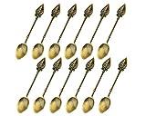 HENGRUI Kreative kleine Löffel Serie von Herzförmiger Griffkopf Kleiner Löffel,ein Set von 12-teilig(Bronze,JC029)