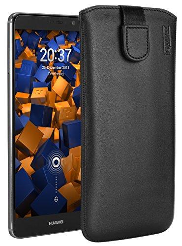 mumbi ECHT Ledertasche für Huawei Mate 9 Tasche Leder Etui (Lasche mit Rückzugfunktion Ausziehhilfe)