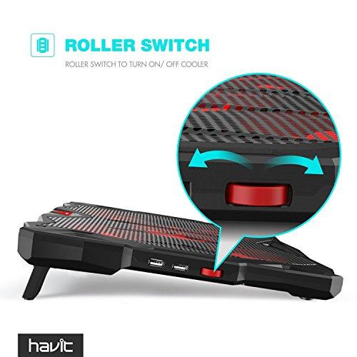 HAVIT Laptop Khler Cooling Pad bis zu 17 Zoll Notebook colder Stnder Khlpad Khlmatte mit 5 Ventilatoren 2 USB Anschlssen rotes LED Lich Rot Khlpads