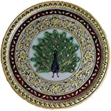 Gaura Art & Crafts Marble Dancing Peacock Decorative Plate Painting,Wall Painting Golden Emboss Meenakari Work With Stone Semi Precious Stone Studded Painting, With Wooden Stand Handmade Handicraft For Home Decor Showpiece Gift Items