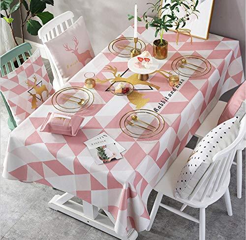 WJYdp Tischdecke Rechteckige Baumwolle Rosa Geometrische Dreiecke Dekorativer Stoff Aus Goldenem Elch Hausküche Picknick Gartentischdecke Im Garten,140X220CM(55X86in) (Picknick-tischdecke Stoff)