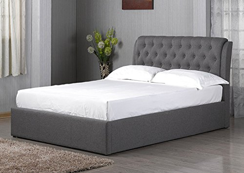 Grey Chesterfield Style Fabric Ottoman Bed Frame 5ft King Size