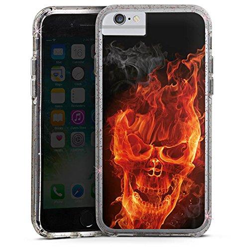 Apple iPhone X Bumper Hülle Bumper Case Glitzer Hülle Skull Totenkopf Feuer Bumper Case Glitzer rose gold