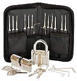 SecPack Kit De Crochetage Lockpicking Set Complet Outils de 25 Pièces Avec 2 Serrures D'Eentraînement Transparents Pour Débutants Professionnels Et Serruriers