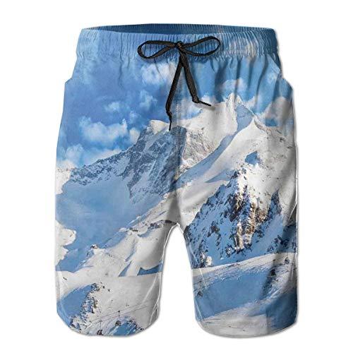 MIOMIOK Mens Beach Shorts Swim Trunks,Mountain Landscape Ski Slope Winter Sport Telfer and Snowboarding Image White Blue,Summer Cool Quick Dry Board Shorts Bathing SuitM