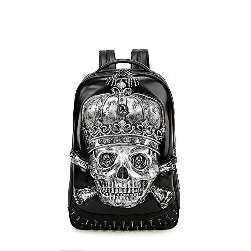 YQSC Herren Rucksack Laptoptasche 3D Schädel Dekoration Geschenk,Silver