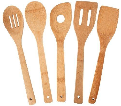Doitsa 5 piezas Utensilios de cocina Madera Spoon espátula de madera Cocina Ensalada Duradero No pegajoso Antibacteriano