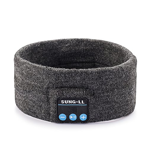 Sung-LL Kabellose Bluetooth-Stereo-Kopfhörer, Schlaf Headset, Sportschal, Free Size, dunkelgrau Over-ear Hands Free-headset