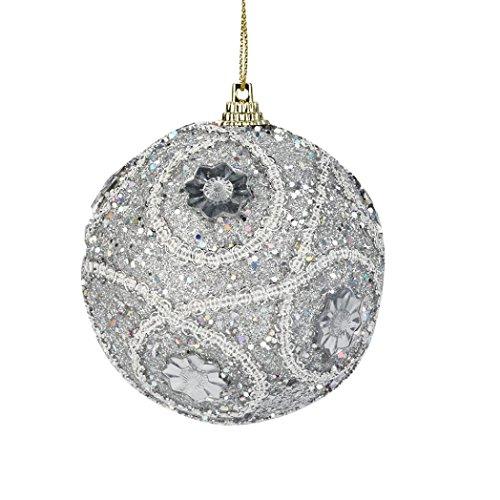 HUHU833 8cm Christmas Rhinestone Glitter Baubles Balls Xmas Tree Ornament Blue