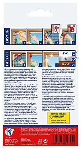 tesa Insect Stop COMFORT Fliegengitter für Fenster / Insektenschutz mit selbstklebendem Klettband in Anthrazit / 130 cm x 150 cm