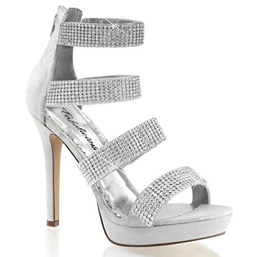 Strass Sandalette, Damen, Silber (silber) Silber (Silber)