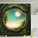 Shower Curtain 180x180CM, Digital Printing Enchanted Forest Full Moon Waterproof Polyester Fabric Shower Curtain Bathroom Decor