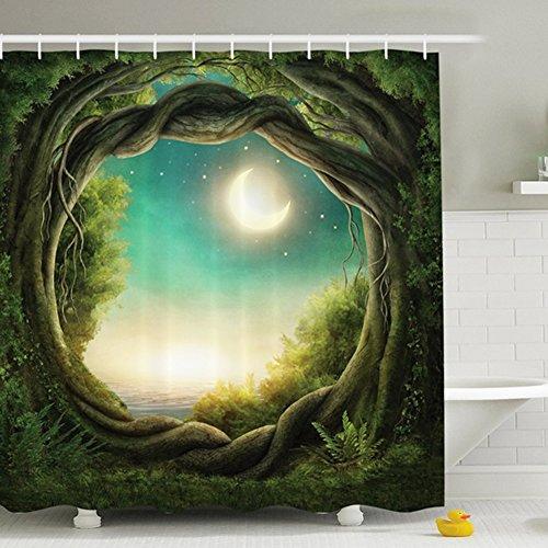 Tenda Doccia 180x180CM, Impermeabile Stampa Digitale Enchanted Forest Luna piena Poliestere Bagno Tenda - Natale Tenda Della Doccia