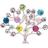 Yazilind Schmuck Glaring versilbert Baumform Carve Voll Bunte Blatt Kristall Broschen und Pins f¨¹r Frauen