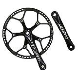 Jnp 58T 58Gear grande diametro guarnitura bici pieghevole con pignone Protetive copertura 130BCD 170mm manovella set, Black
