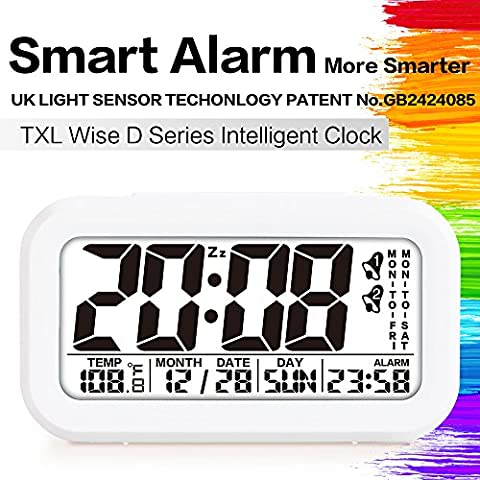 TXL Alarm Clocks for Heavy Sleepers with Soft Backlight, Month & Date & Temperature Display, LCD Screen,One Key Alarm Clock Group, Fashion Style Digital Office Home Alarm Clock for Teens or Kids White