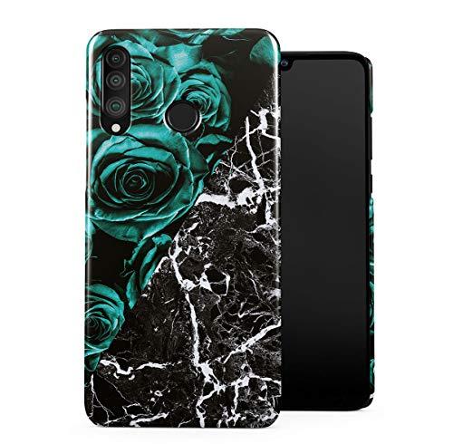 Schwarz Marmor Muster & Grüne Rose Glamorous Pattern Dünne Handy Schutzhülle Hardcase Aus Hartplastik Hülle Kompatibel mit Huawei P30 Lite Handyhülle Case Cover (Amethyst Grünen Crystal)