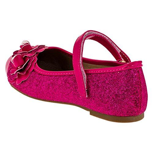 Mädchen Glitzer Ballerinas in Pink oder Schwarz #136pi Pink