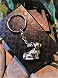 Handmade Silver Shih Tzu Lhasa Apso Dog Keyring/Handbag Charm. Can be personalised. Gift Boxed.