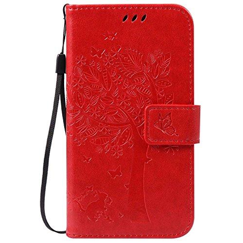 Guran® PU Leder Tasche Etui für Motorola Moto G 2. Generation (5 Zoll) Smartphone Flip Cover Stand Hülle und Karte Slot Case-rote