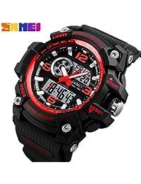 Skmei Analogue-Digital Black Dial Men's & Boy's Watch(Skm-1283-Red)