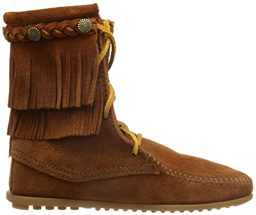 Minnetonka Double Fringe Tramper Damen Kurzschaft Mokassin Boots Braun (Brown 2)