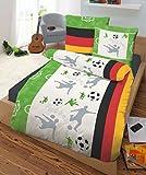 IDO Renforcé Bettwäsche 2tlg. Fußball Deutschland 47590-607 Bettbezug Kinder & Jugend 80x80 cm/135x200 cm