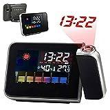 DUBENS Digital Projektion Taktgeber Projektionswecker, Hintergrundbeleuchtung LCD Projektionswecker mit Zeit und Datumsanzeige / Hygrometer / Sensor Licht / Innentemperatur / Snooze