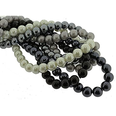 Perle in Vetro – 5 corde – 6 mm Rotondo – Monochrome Mix - Pearl Fili Craft Beads