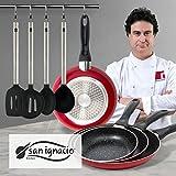 San Ignacio - Juego de sartenes en rojo y utensilios de cocina