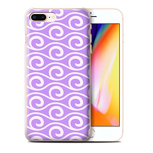 Stuff4 Hülle / Case für Apple iPhone 8 Plus / Grün Muster / Wellenmuster Kollektion Violett