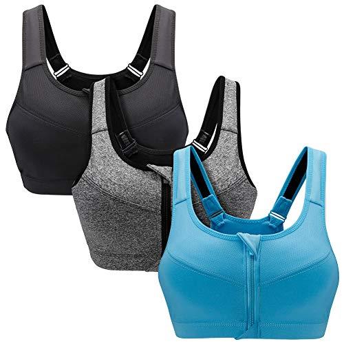 SANMIO Damen Sport BH Stark Halt Vorderverschluss Gepolstert Ohne Bügel Yoga Bra für Active Yoga Fitness Joggen(2/3 Pack) -