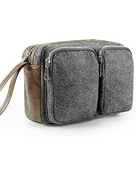 Fansmart vintage Unterarmtasche Handtasche geräumig Geldbörse aus Filz und Leder für Herren und Damen (25.5×9×...