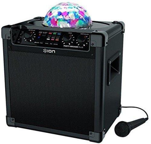 ION Audio Party Rocker Plus - Sistema de altavoz 50 W portátil con Bluetooth, batería recargable con 50 horas de uso, sistema de luces de fiesta y micrófono incluido