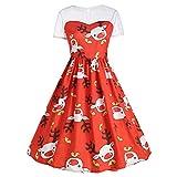Kleider Damen Weihnachtskleid Xiantime Damen Elegant Abendkleid Cocktailkleid Schulterfreies Knielang Festlich Kleider Spitzenkleid S-XXL