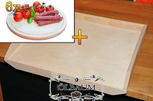 Schneidebrett - massive, hochwertige ca. 16 mm starke Teigbretter natur, Maße viereckig je ca. 50 cm x 55 cm x 16 mm & 6 Stk. Hochwertiges, dickes ca. 16 mm Buche - SPÜLMASCHINENFEST '*' -Grill-Holzbrett mit Rillung natur, Maße rund ca. 25 cm Durchmesser als Bruschetta-Servierbrett, Brotzeitbretter, Steakteller schinkenbrett rustikal, Schinkenteller von BTV, Brotzeitteller Bayern, Wildbrett, Wildbret,