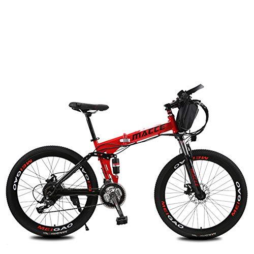 L&U Bicicleta eléctrica Bicicleta de Nieve Bicicleta de montaña de 250W para Hombres - Pedal con Frenos de Disco y Horquilla de suspensión (batería de Litio extraíble),Bag/Red