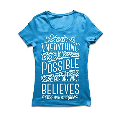 Frauen T-Shirt Jesus Christus: Alles ist möglich für den, der glaubt - christliche Religion, Glaube, Bibel - Ostern - Auferstehung (Large Blau Mehrfarben) (Personalisierte Geschenk-logo-shirt)
