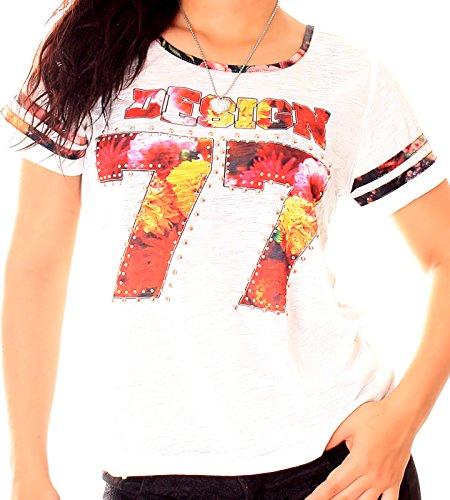 Damen Kurzarm Retro Print-Shirt mit Nieten in verschiedenen Farben Creme