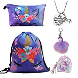 DRESHOW 5 Pack Unicorn Gifts for Girls Unicorn Drawstring Backpack/Make Up Bag/Necklace/Fluffy Llaveros/Brazalete de regalo para fiestas navideñas