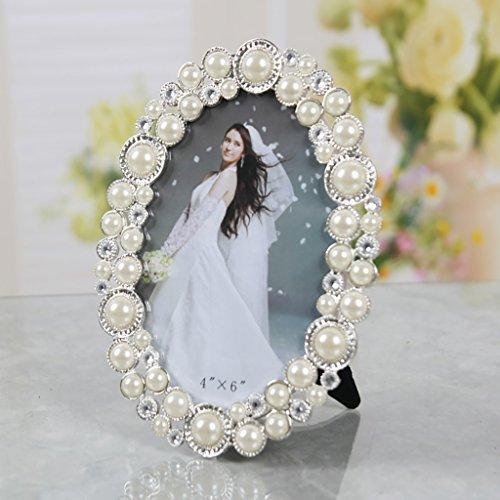 Photo Frame SESO UK- European Design Picture Klassische Hochzeitsleben ovale Kristall dekorative Rahmen, Foto anwenden: 3x5 / 4x6 / 5x7-Zoll (Farbe : Weiß, größe : 14.8x9.8CM)