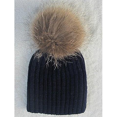 XMQC*Las mujeres señoras invierno cálido tejido de lana Raccoon Fur Beanie Bobble Ski Hat Cap,Style3 Azul Marino (hijo)