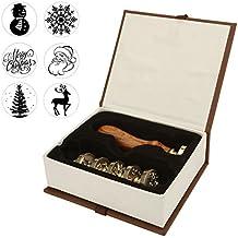 Mogoko 6 pcs Rosenholz Wachs Siegelstempel Set Premium Geschenk Set Dekorativer Siegel Petschaft Holzgriff Brief Personalisierte Segen Geschenkset für Weihnacht (#1)